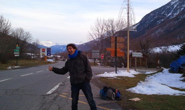 Hitching with Super Hitchhiker, Julien, in the French Alps