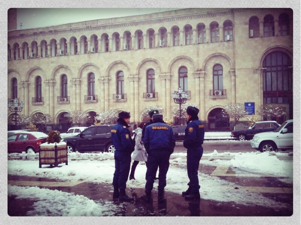 The police are hard at work in Yerevan...