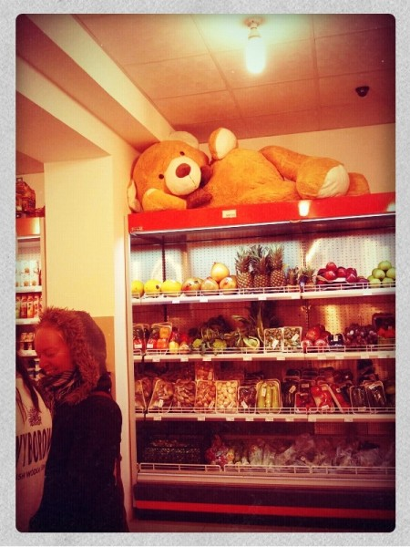 The bear makes himself at home in the supermarket