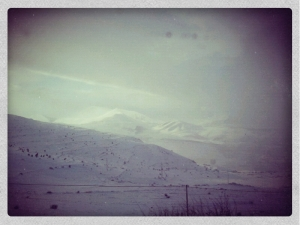 The border is somewhere in these mountains!