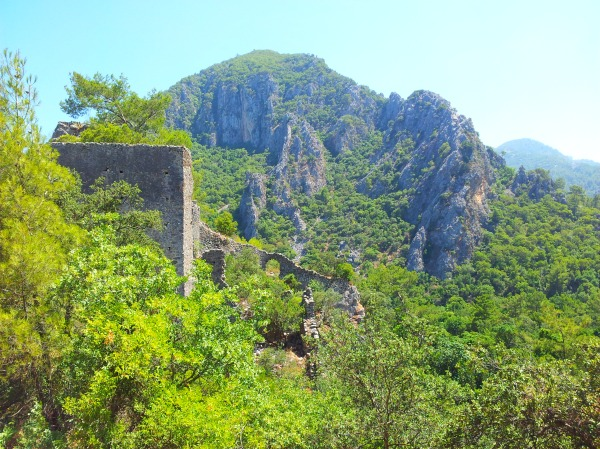 The ruins and mountains of Olympos in south-west Turkey