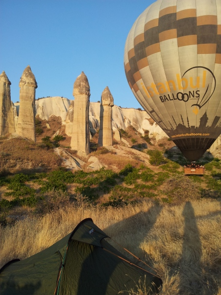 The balloons almost land on our tent!
