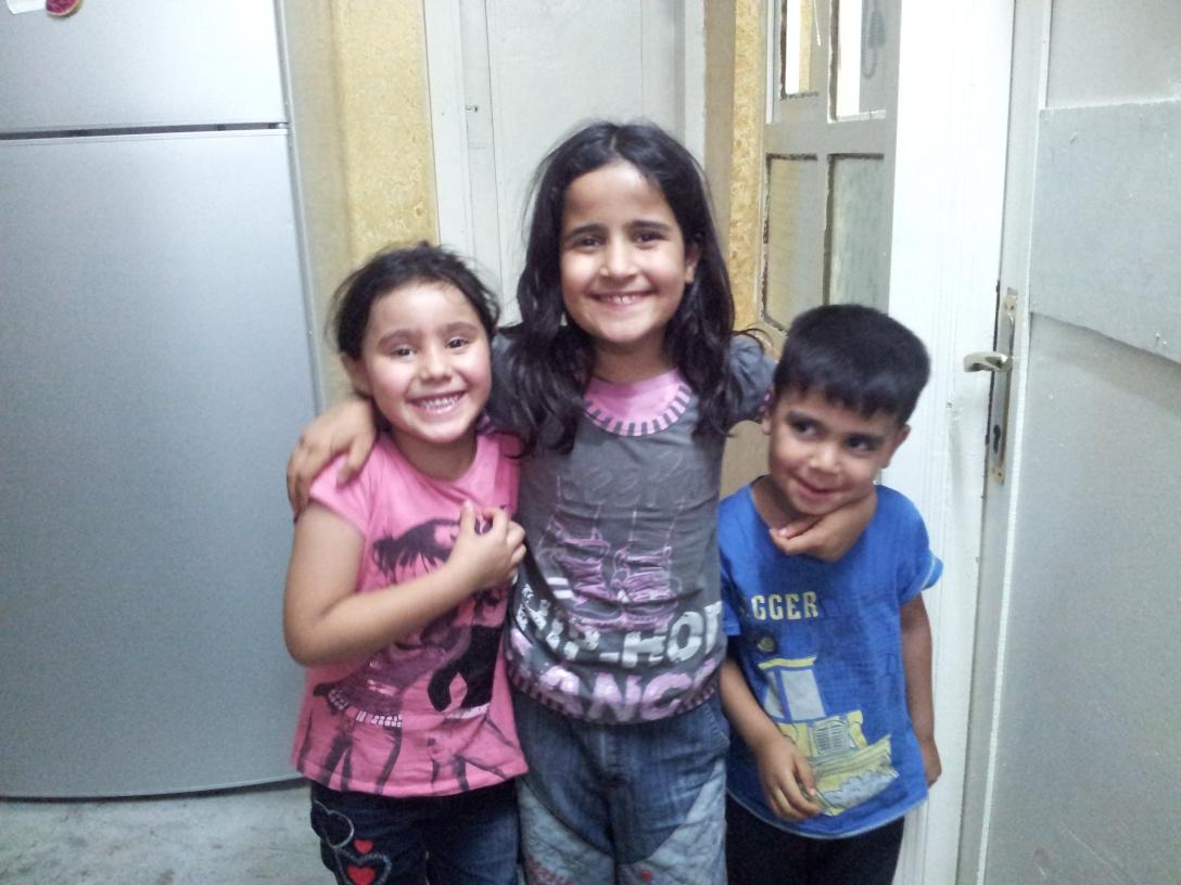 Happy children at home in Urfa