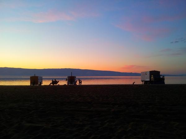 Saunas on the shore of Baikal