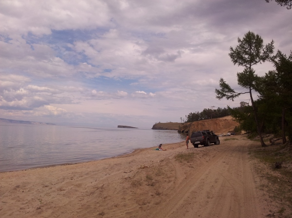 Just one of the hundreds of lazy tourists at Baikal, driving their cars onto the beach