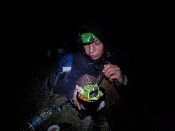 This is me, camping, and proving that it's easy to get your greens in Mongolia!