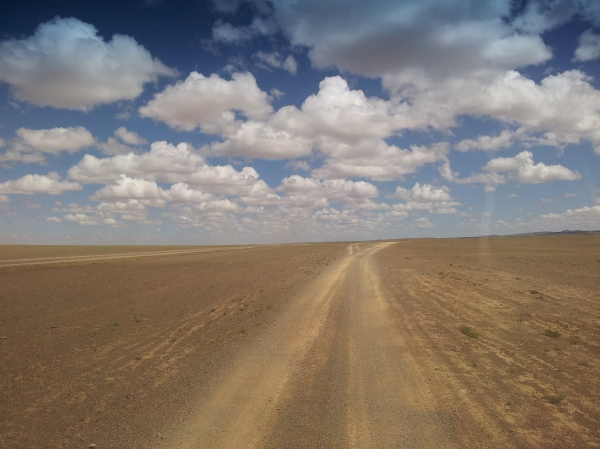 A road through the Gobi desert