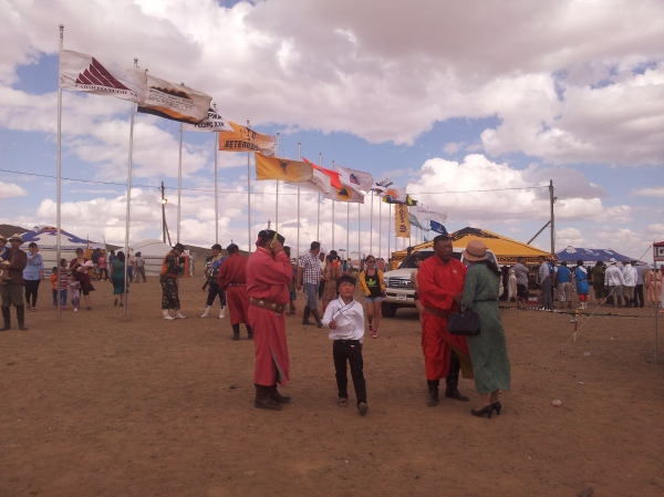 Naadam festival: the corporations have their flags flying