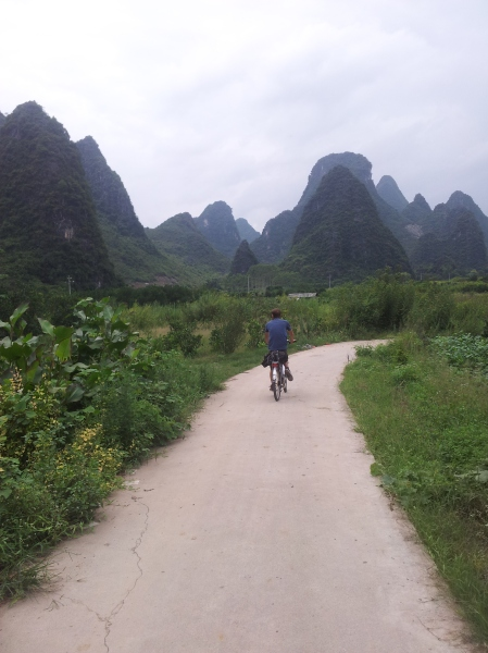 Cycling through the countryside close to Xingping