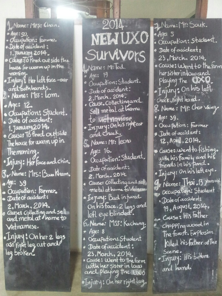 A list of people in Laos who have been injured by unexploded bombs this year...