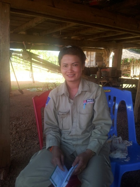 I feel so lucky to sit with this woman, whose job it is to  clear villages of unexploded bombs