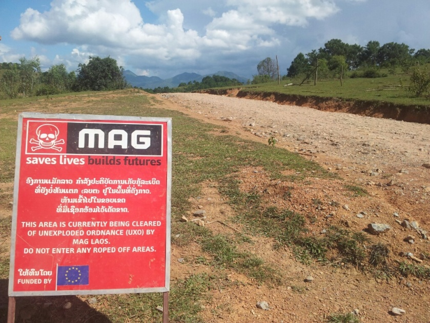 A roadside warning in Laos