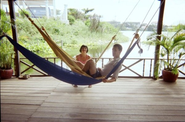 Me and Tom on hammocks in the Lazy Fish on Boeung Kak
