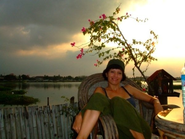 Me in the old days, sitting in our guesthouse on stilts