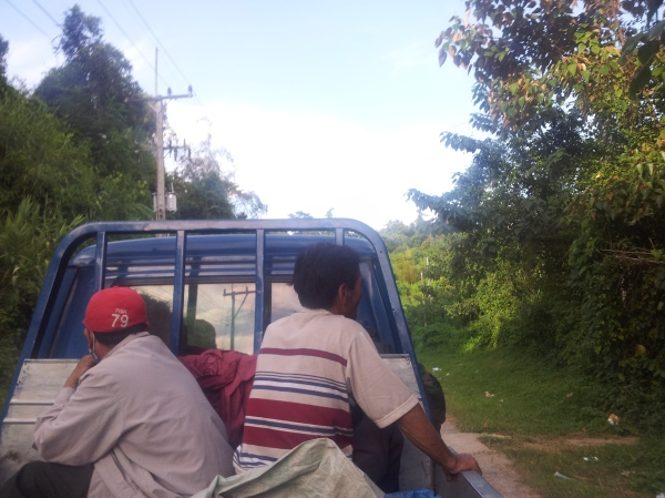 In the back of yet another pickup truck in Laos!