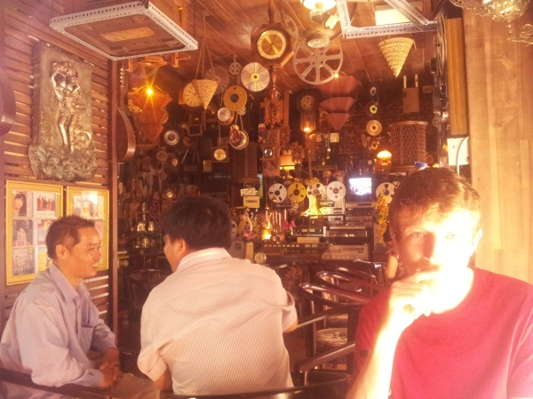 Conor in his favourite eccentric cafe of clocks in Vung  Tau