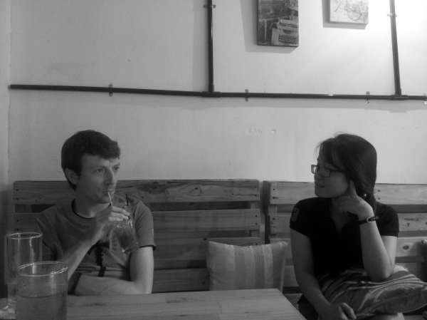 Conor and his friend Hà Giang in her beautiful cafe