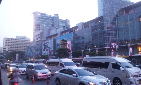 Traffic, pollution and shopping mall after shopping mall in Bangkok's centre. Urgh!
