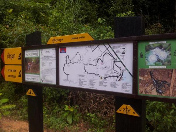 The route map and warning signs at the start of the hike, kindly marked out by Led Zep cafe in Kep :)