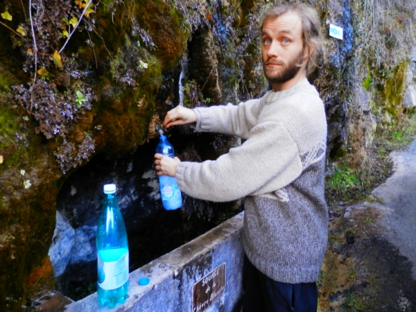 Collecting spring water!