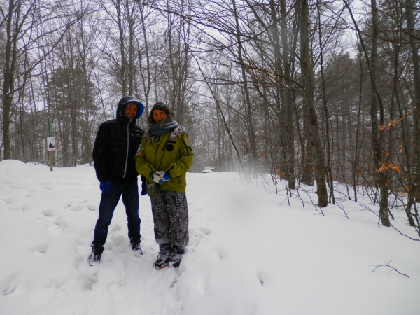 Chris and Nicol in the snowy, snowy mountains
